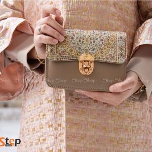 حقيبة تركية تصميم خاص مطرزة – لون ذهبي وبيج