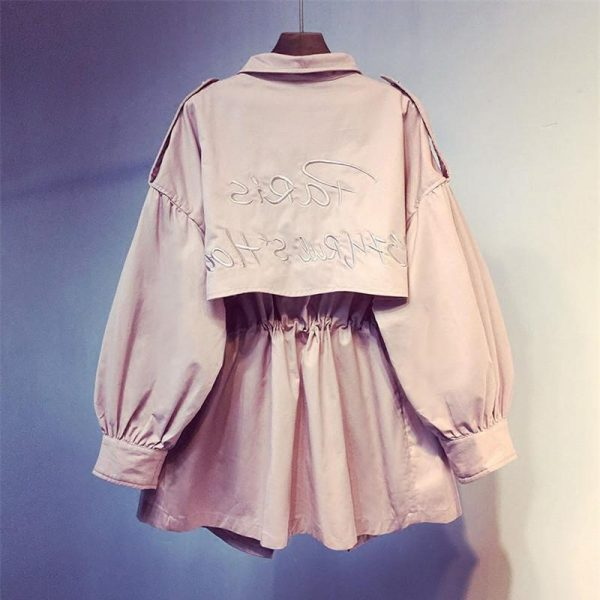 2019 New Spring Long Sleeve Pink Medium Trench Coat Women Overcoat Casual Outerwear Autumn Female Coat Windbreaker Top R56