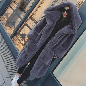 2019 Winter Faux Fur Long Coat Women Thick Warm Fluffy Oversized Hooded Coats Overcoat Female Loose Plush Fur Jackets Outerwear