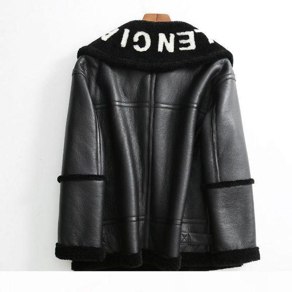 2019 Winter New Women Lamb fur Bomber Real leather jacket sheepskin Double face Shearling Coat Oversized Genuine Leather jacket