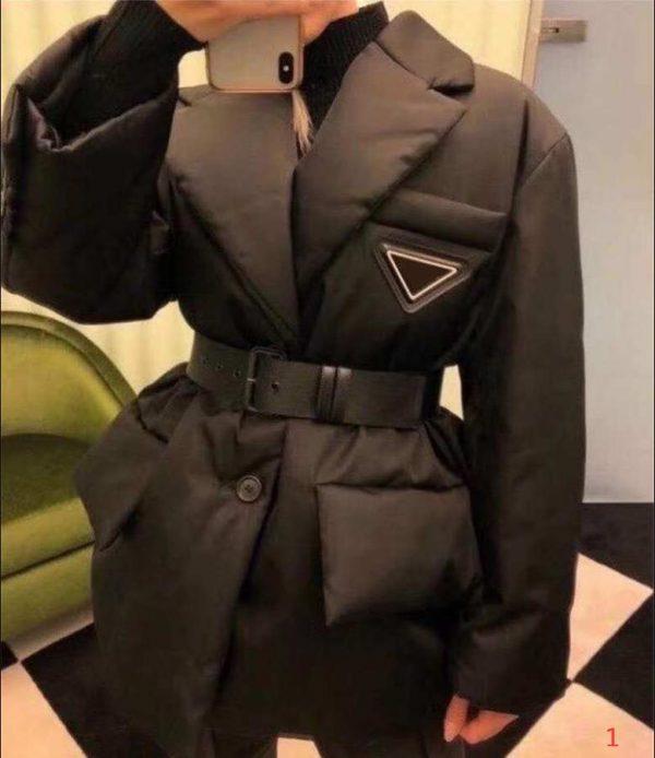 20FW Women Jacket Down Parkas Long Coat Winter Style With Betl Corset Lady Slim Fashion Jackets Pocket Outsize Warm Coats S-L