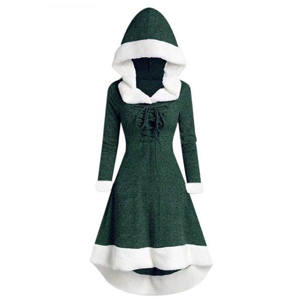 المرأة عيد الميلاد هود الدانتيل يصل فستان ميدي البلوز مع تنحنح غير النظامية وأكمام طويلة شين-الشحن