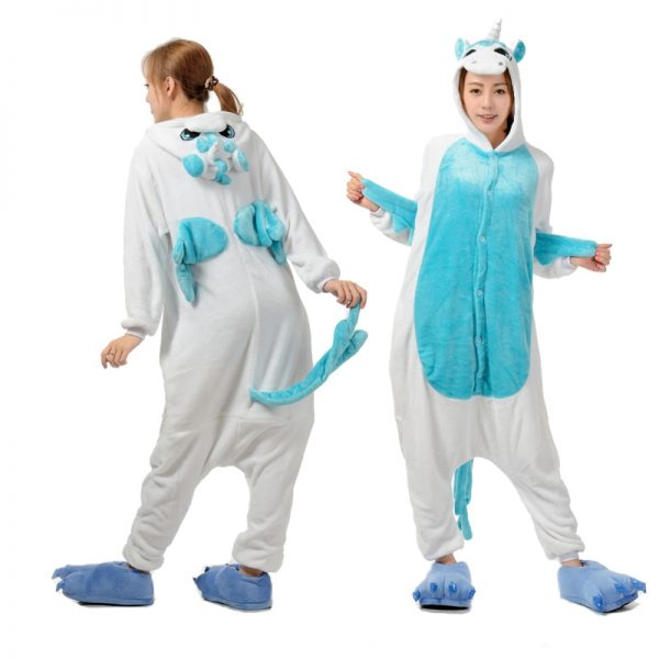 الشتاء الفانيلا الأرنب أنيمي Kigurumi بيجاما ملابس حريمي ليلا يونيكورن منامة قطعة واحدة مقنعين عيد الميلاد نيسيي زي