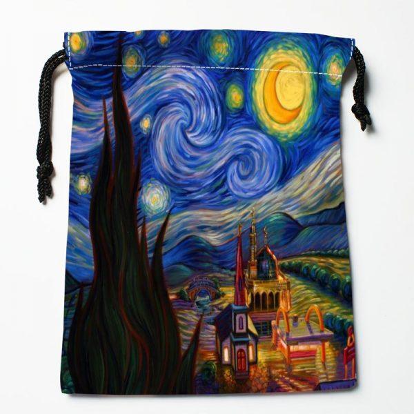العرف ليلة النجوم فنسنت فان جوخ الرباط حقيبة صغيرة السفر المرأة الصغيرة حقيبة ملابس هدية الكريسماس الحقيبة 18*22 سنتيمتر W-0616