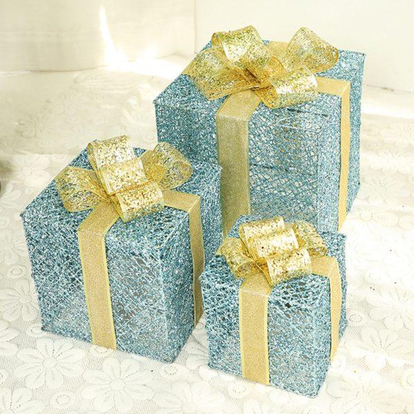 هدية الكريسماس صندوق عيد الميلاد الحديد المطاوع المشهد الديكور هدية صندوق ثلاث قطع مجموعة مع صندوق بطارية سلسلة ضوء أبيض دافئ