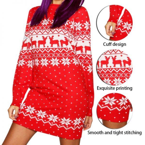 فستان سهرة عيد الميلاد المرأة كبيرة الحجم ثوب النوم الكرتون طباعة قمصان النوم طويلة الأكمام ثوب النوم طباعة القطن ملابس خاصة