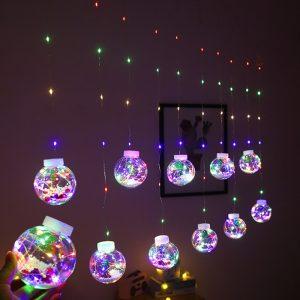 عيد الميلاد الستار الجنية ضوء الكرة سلسلة أضواء مقاوم للماء ل شجرة عيد الميلاد الزفاف المنزل غرفة نوم داخلي الديكور 3 ألوان