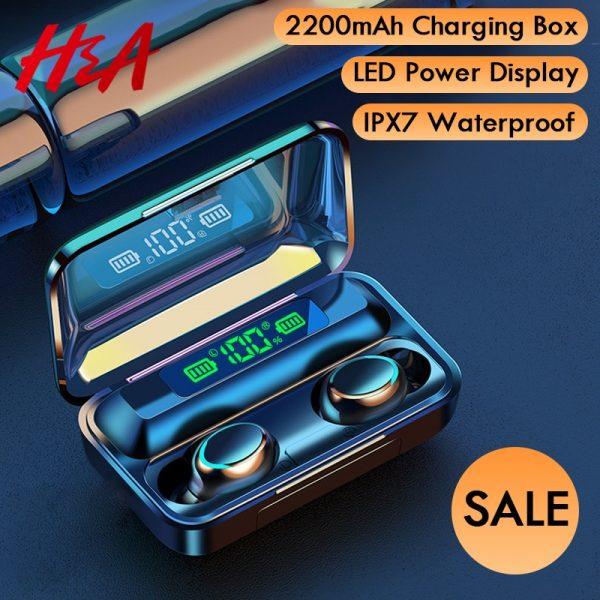 H&A-سماعات بلوتوث V5.0, سماعات لاسلكية مع ميكروفون رياضات سماعات مضادة للماء صندوق شحن 2200 مللي أمبير لأجهزة الأندرويد