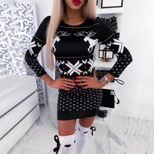 فساتين بودي كون للكريسماس للنساء موضة 2020 فستان حريمي مطبوع للكريسماس بأكمام طويلة لفصل الربيع والخريف للنساء D30