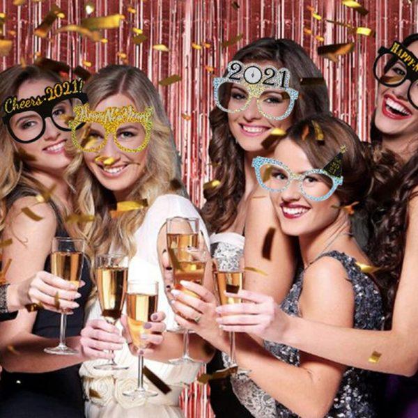 9/12 قطعة نظارات عيد الميلاد سانتا كلوز 2021 ليلة رأس السنة الجديدة ورقة إطار نظارات صور الدعائم 2020 عيد الميلاد الديكور للمنزل