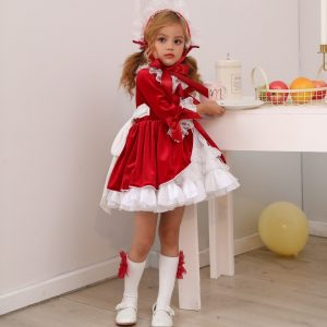 4 قطعة فستان اسبانيا الفتيات الملكي ازياء الاطفال الأميرة الزفاف فساتين لحفلات عيد الميلاد الدانتيل رداء Fille طفلة عيد الميلاد الملابس