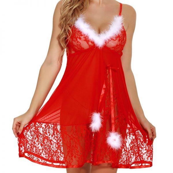 GHZTYF عيد الميلاد الملابس الداخلية للنساء مفتوحة شفافة فستان سهرة الملابس الداخلية للجنس المثيرة المثيرة ازياء نوم مثير