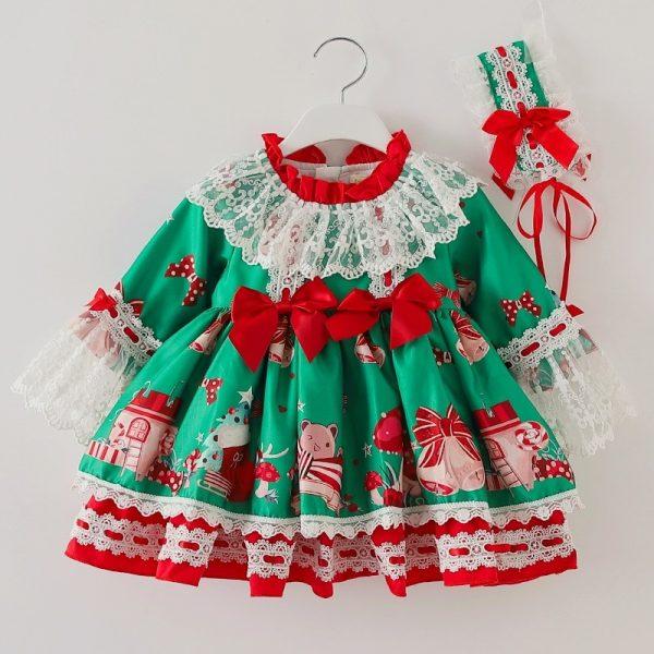 2 قطعة ملابس الأطفال الاسبانية نمط عيد الميلاد فستان أخضر للطفل الفتيات عيد الميلاد الفساتين حفلة فتاة لوليتا الأميرة رقيق