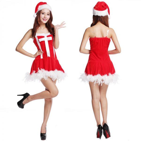 عيد الميلاد الأداء فستان فتاة مثير سانتا كلوز تأثيري ازياء أنيقة ليلة نادي الرقص رداء تنكر كوس فيستدوس
