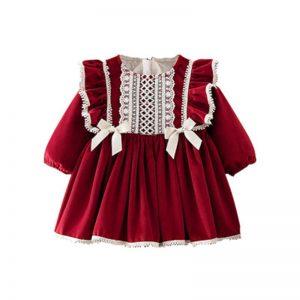 عيد الميلاد 2020 الفتيات فستان طفل الاسبانية الأميرة ملابس طويلة الأكمام الشتاء النبيذ الاحمر زائد المخملية الاطفال فستان للفتيات الملابس