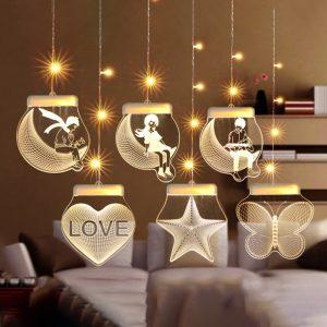 USB مصباح معلق واجهة ليلة مصباح LED ثلاثية الأبعاد غرفة ستائر زخرفية مصباح الزفاف الاعتراف تخطيط مصباح عيد الميلاد الجنية ضوء
