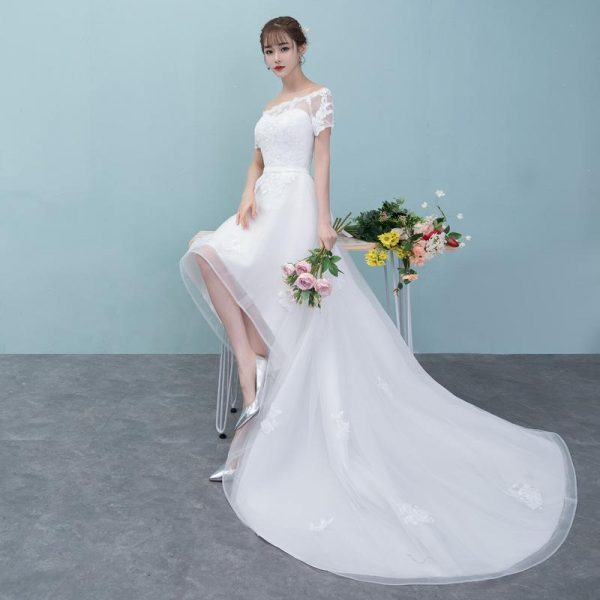 Boat Neck Tulle High Low Wedding Dresses 2020 Short Sleeves Lace Appliques Beach Wedding Gowns vestidos novia
