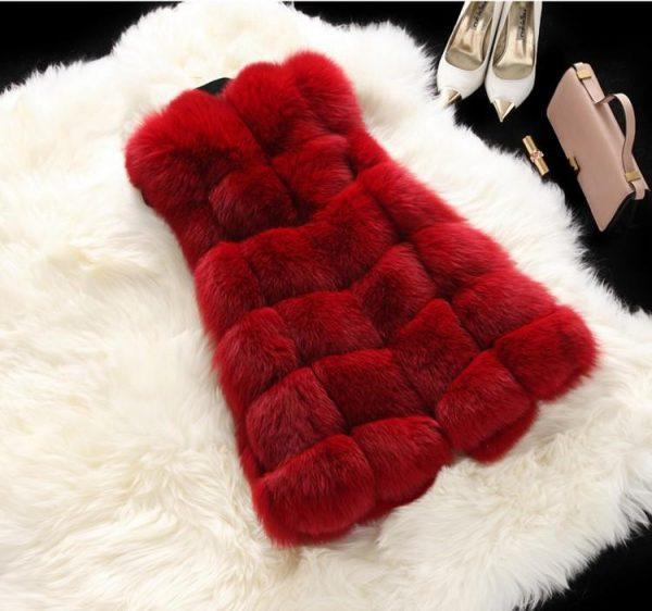 Hot Sell Luxury High Imitation Women Faux Fur Vest Long Coat Winter Woman Warm Thick Splice Jackets Female Waistcoat Outwear