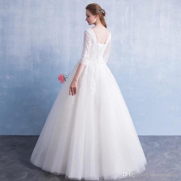 Lace Tulle V Neck Ball Gown Wedding Dresses 2019 Floor Length Bridal Gown Simple Marriage Dress