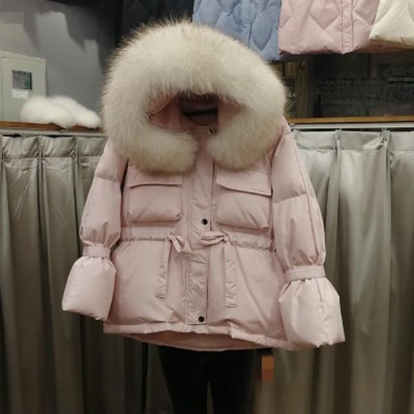 Large Natural Raccoon Fur Hooded Winter Jacket Women White Duck Down Short Coats Solid Thick Warm Parkas Lace Up Snow Coat