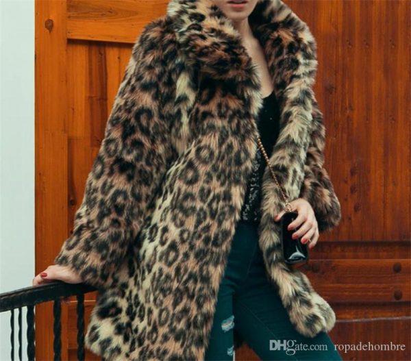 Leopard Printed Faux Fur Lapel Neck Coats Designer Women Clothing Winter Women Designer Coats Fashion Loose