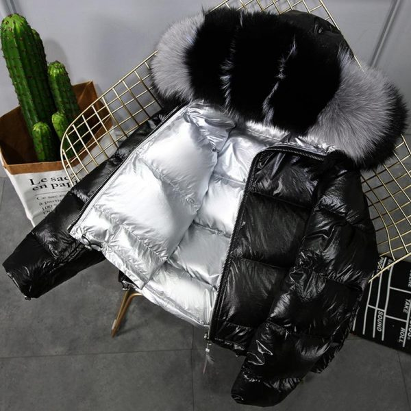 Real Fur Coat Natural Fur Collar Winter Jacket Women 90% White Duck Down Double Sided Hooded Waterproof Parkas