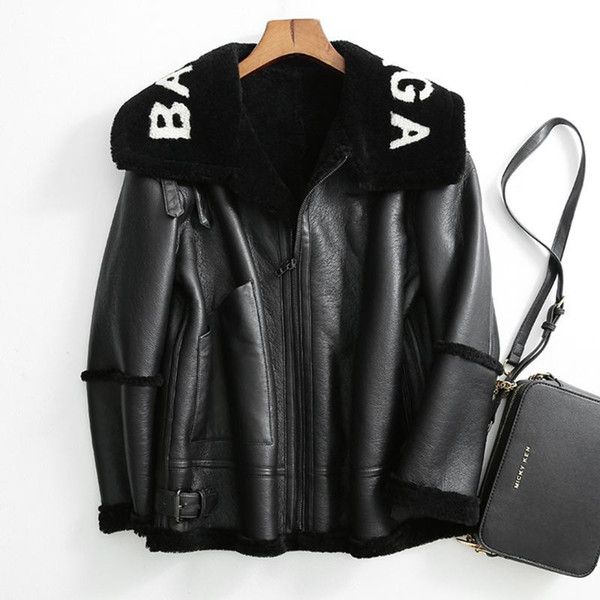 2019 Winter New Women Lamb fur Bomber Real leather jacket sheepskin Double face Shearling Coat Oversized Genuine Leather jacket