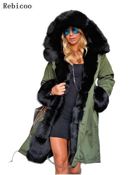 Brand New Style Big Wool Collar Winter Coat Women Clothes Warm Thick Loose Coats Casual Hooded Long Sleeve Jacket Coat Female