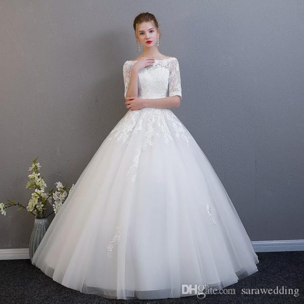 Simple Half Sleeves Tulle Ball Gown Wedding Dresses with Lace 2020 Vestidos De Novia Ivory White Bride Dress