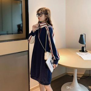 Size S-2XL Women Knee Length Casual Dresses With Zipper Fashion Long Sleeve Lady Designer Clothing Club Dresses