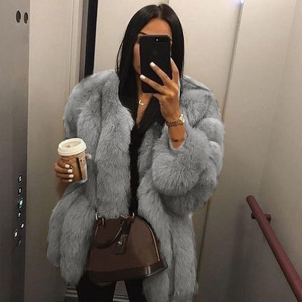 Women Faux Fur Coat Winter High Quality Thick Women Overcoat Warm Plus Size Plush Furry Female Jacket Coat Outerwear 5XL