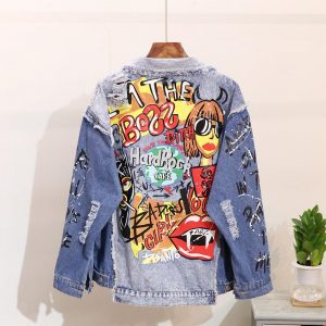 Women's Denim Jacket Fashion Graffiti print Long sleeve Designs Loose Jean Coat Female Casual Jaqueta Feminina Ladies Outerwear