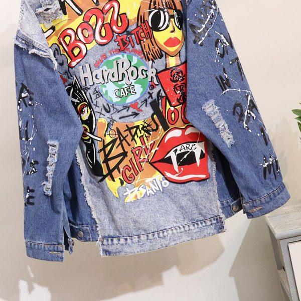 Women's Denim Jacket Fashion Graffiti print Long sleeve Designs Loose Jean Coat Female Casual Jaqueta Feminina Ladies Outerwear